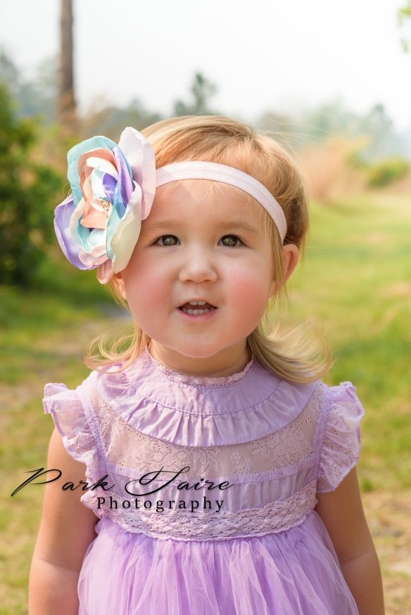 lakeland child photographer toddler girl purple dress pink teal flower headband 2 year old 2