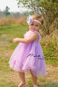 lakeland child photographer toddler girl purple dress pink teal flower headband 2 year old tall grass dance twirl 3