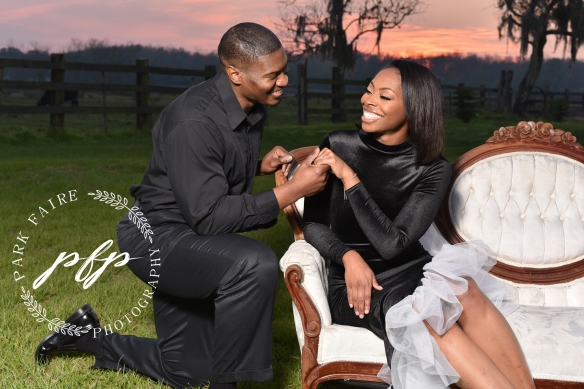 Engagement photo couch field farm couple formal dress